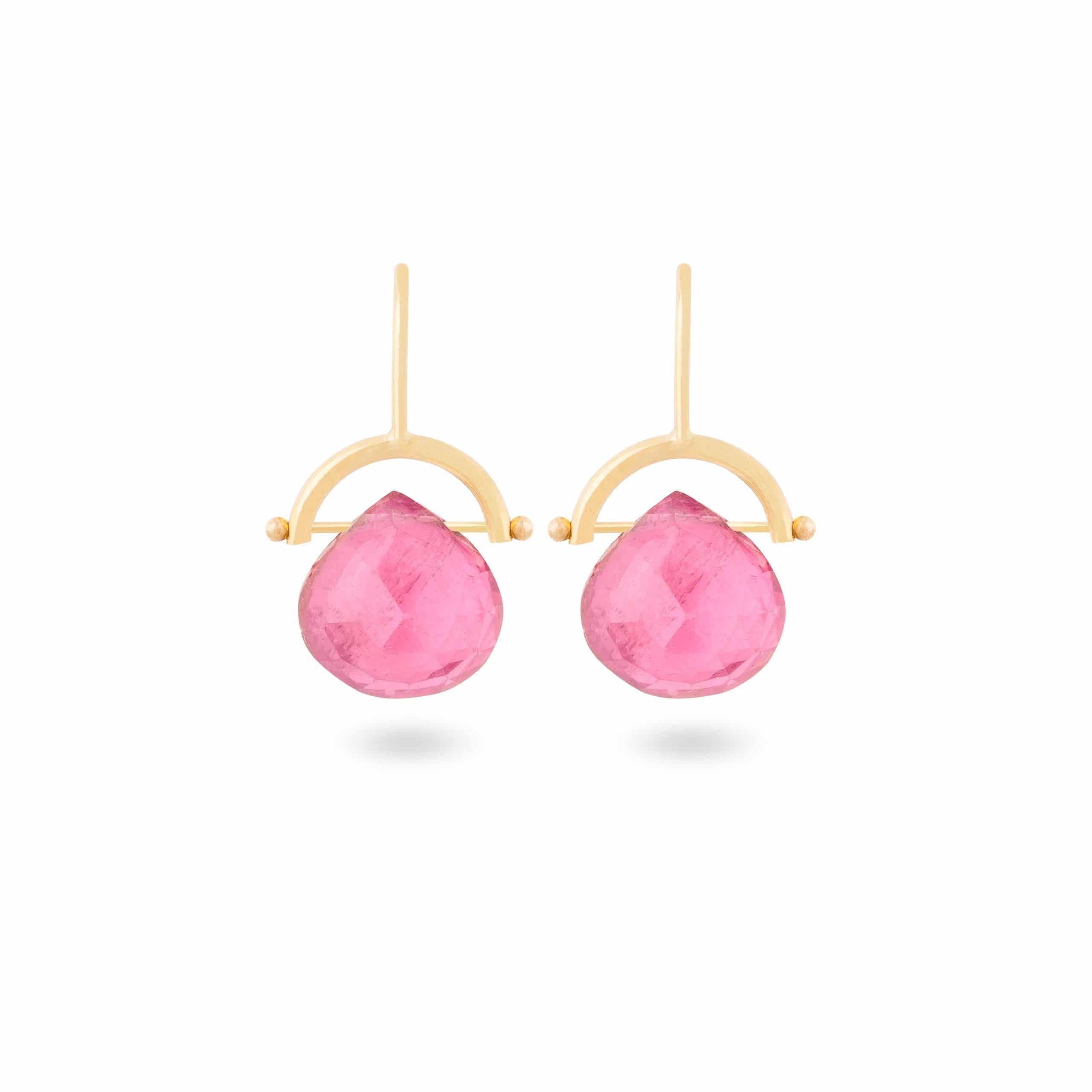 Boucles d'oreilles tourmalines roses