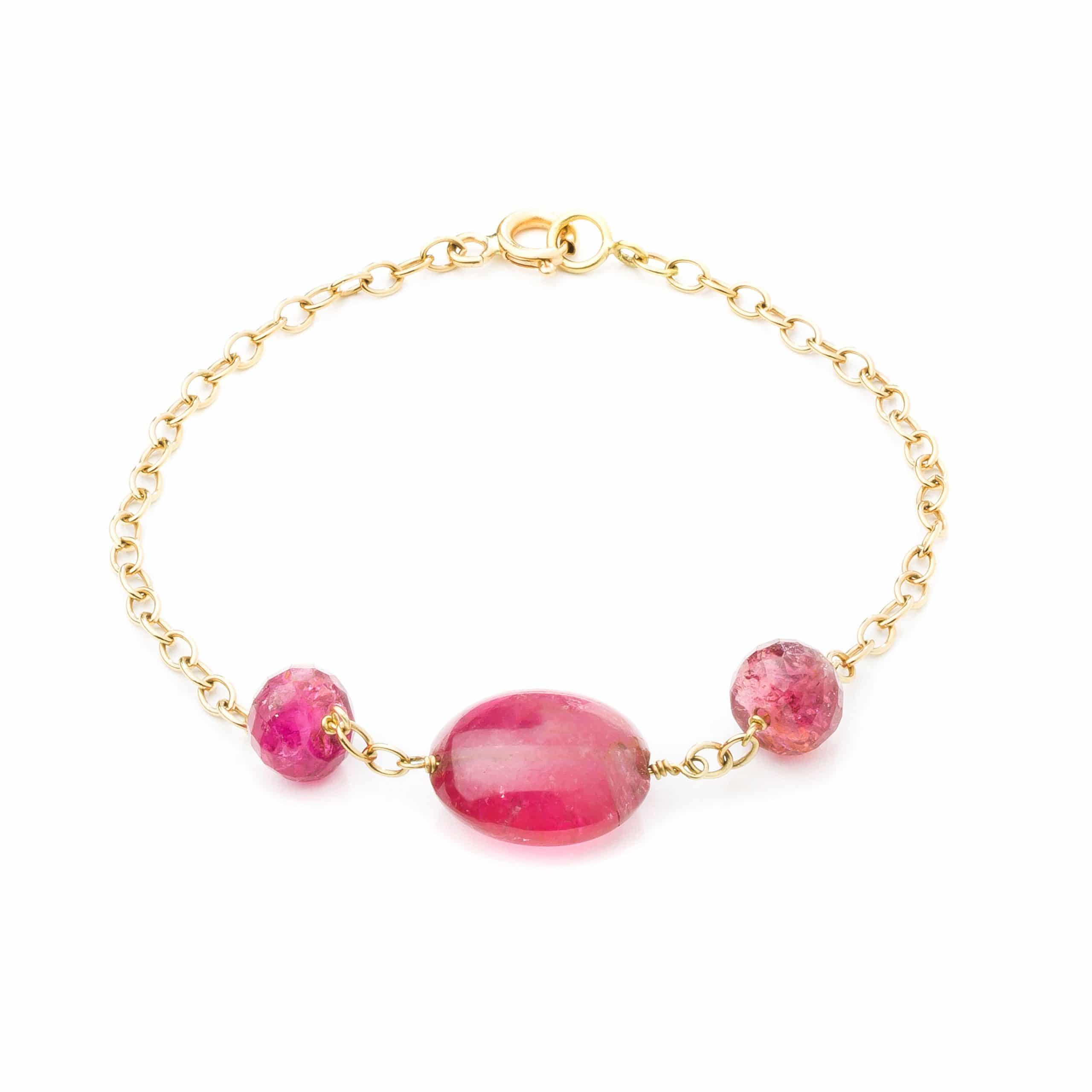 Bracelet tourmalines roses