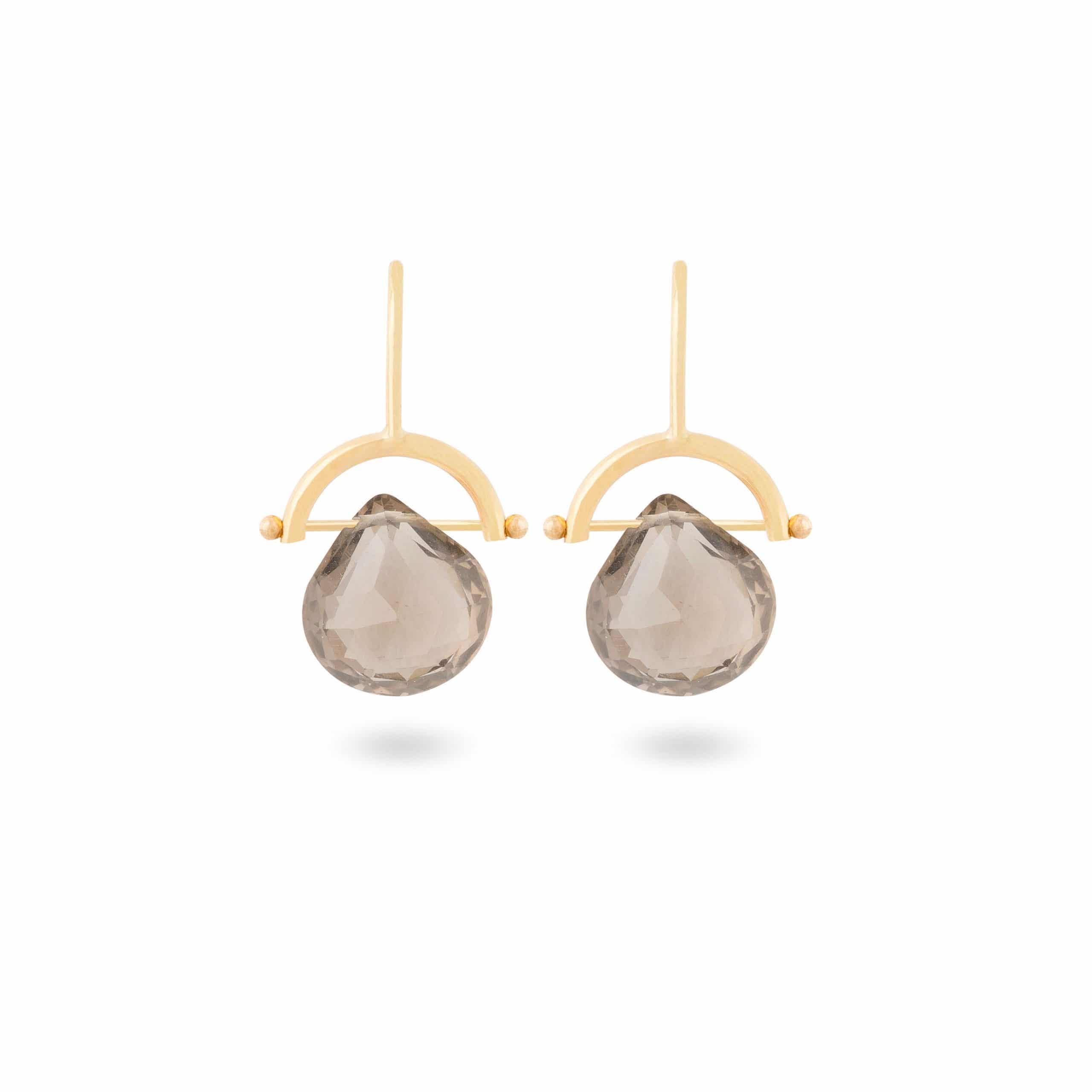 Boucles d'oreilles quartz fumé