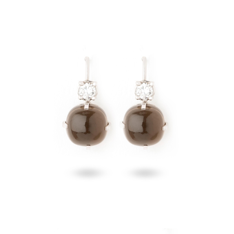 Boucles d'oreilles quartz fumé et diamants