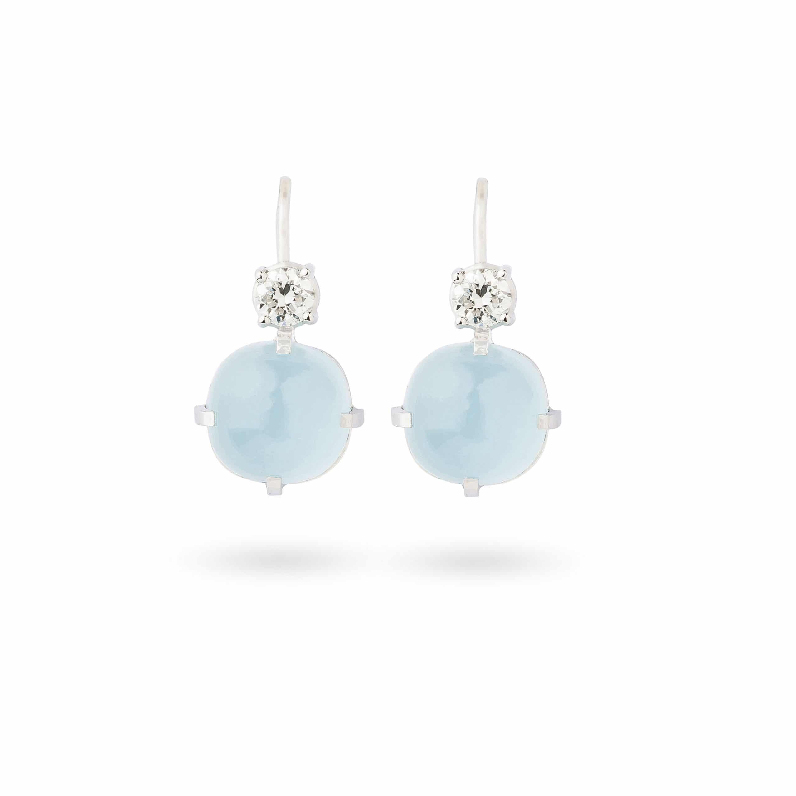 Boucles d'oreilles aigues marines et diamants