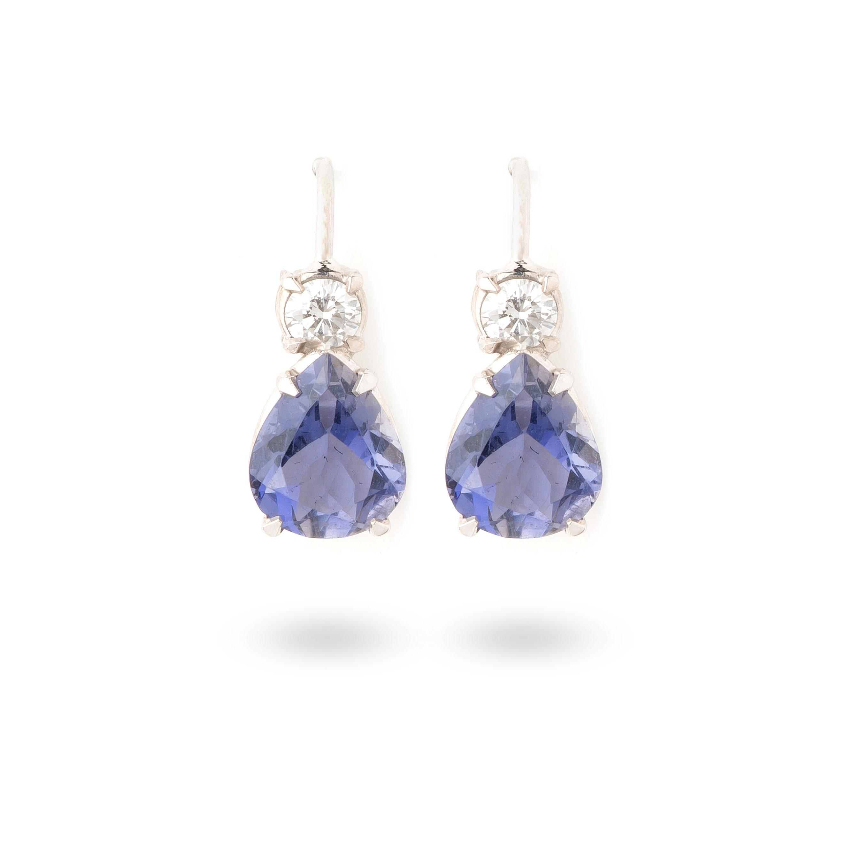 Boucles d'oreilles iolites et diamants blancs