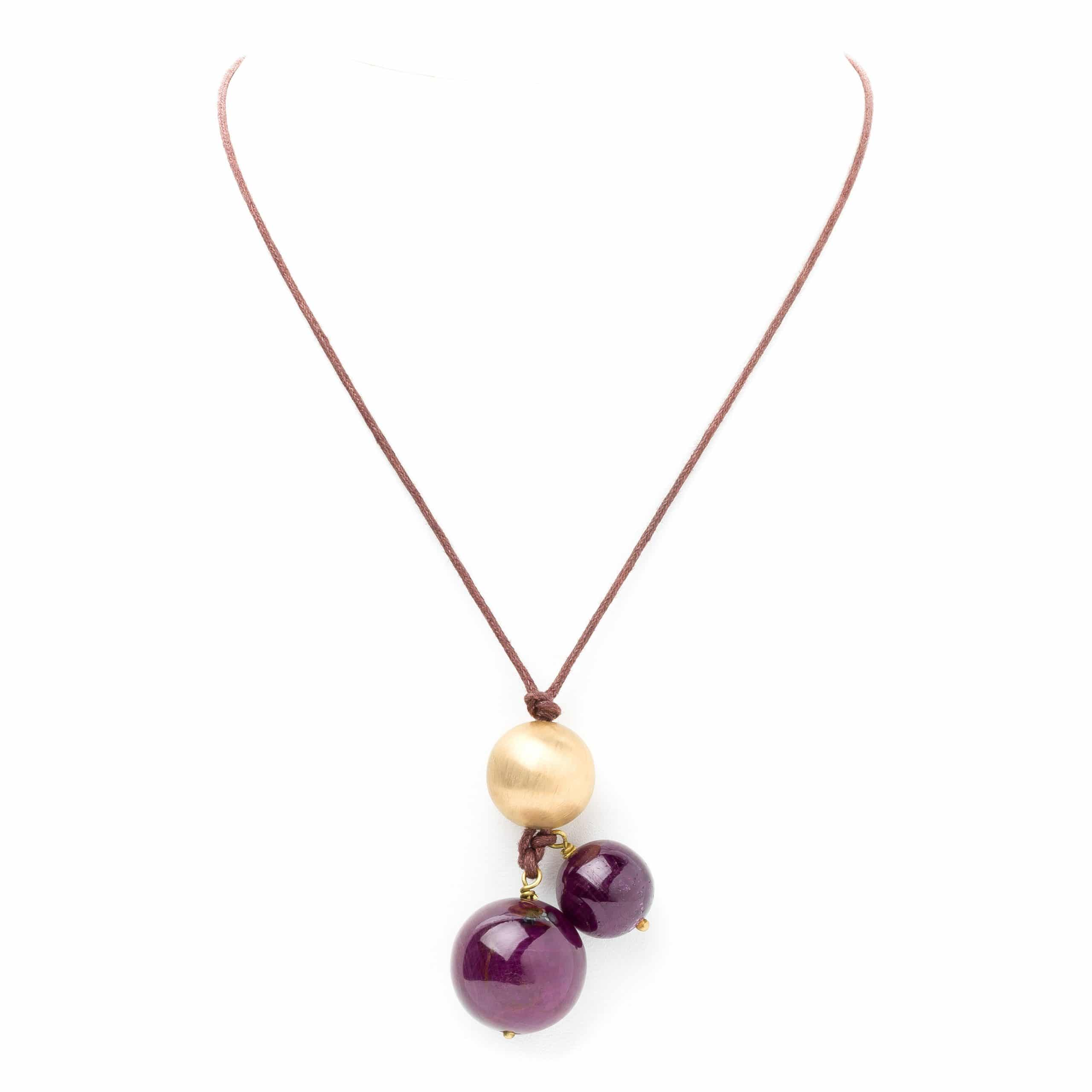 Collier lien boule or-rubis