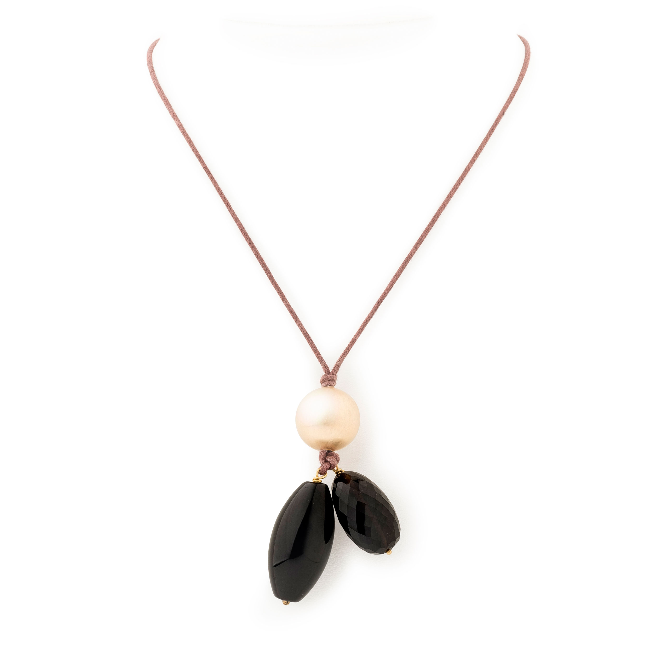 Collier lien Boule or-quartz fumé-onyx