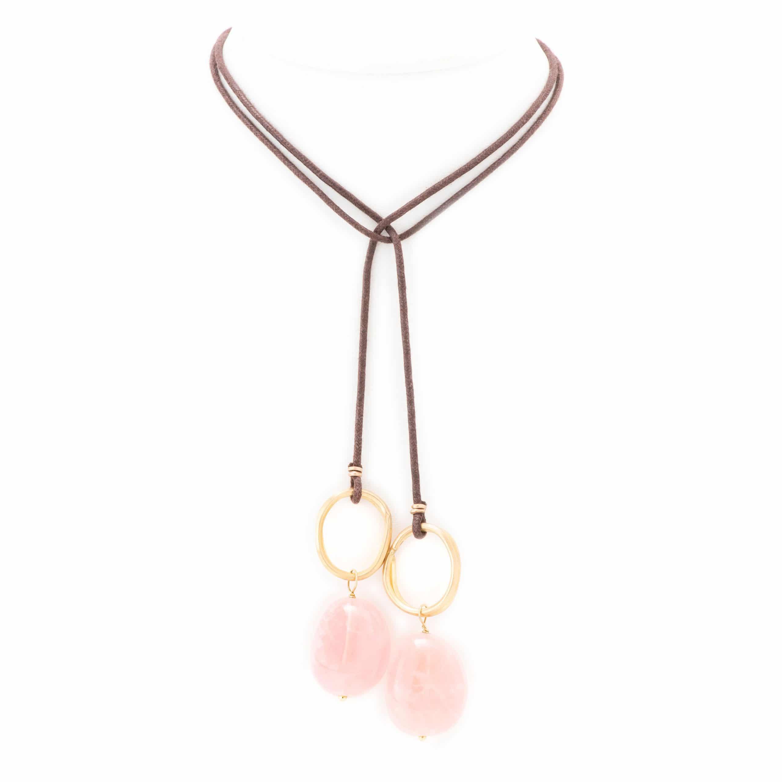Collier lien anneaux quartz rose