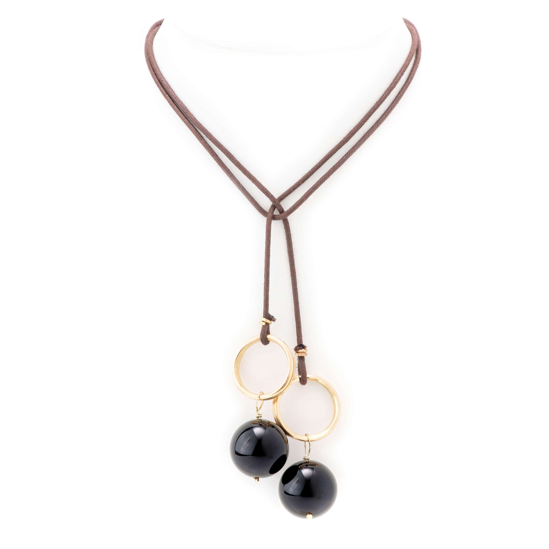 Collier-lien anneaux onyx
