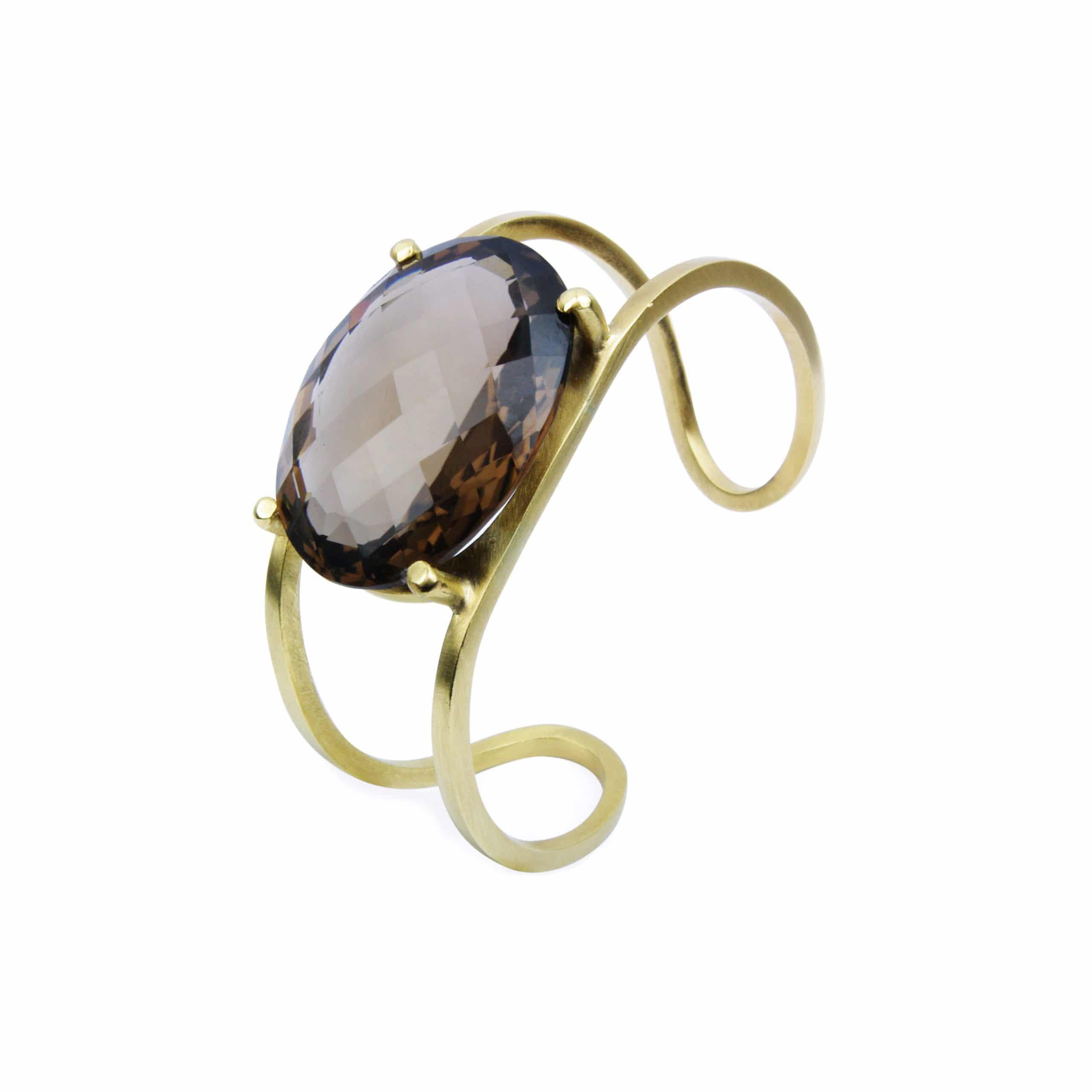 Bracelet manchette quartz fumé